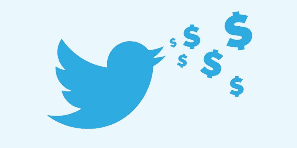 Twitter bird tweeting dollars