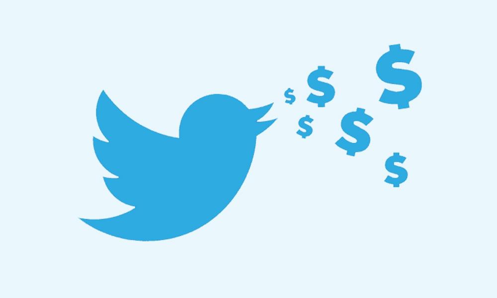Twitter bird tweeting dollars