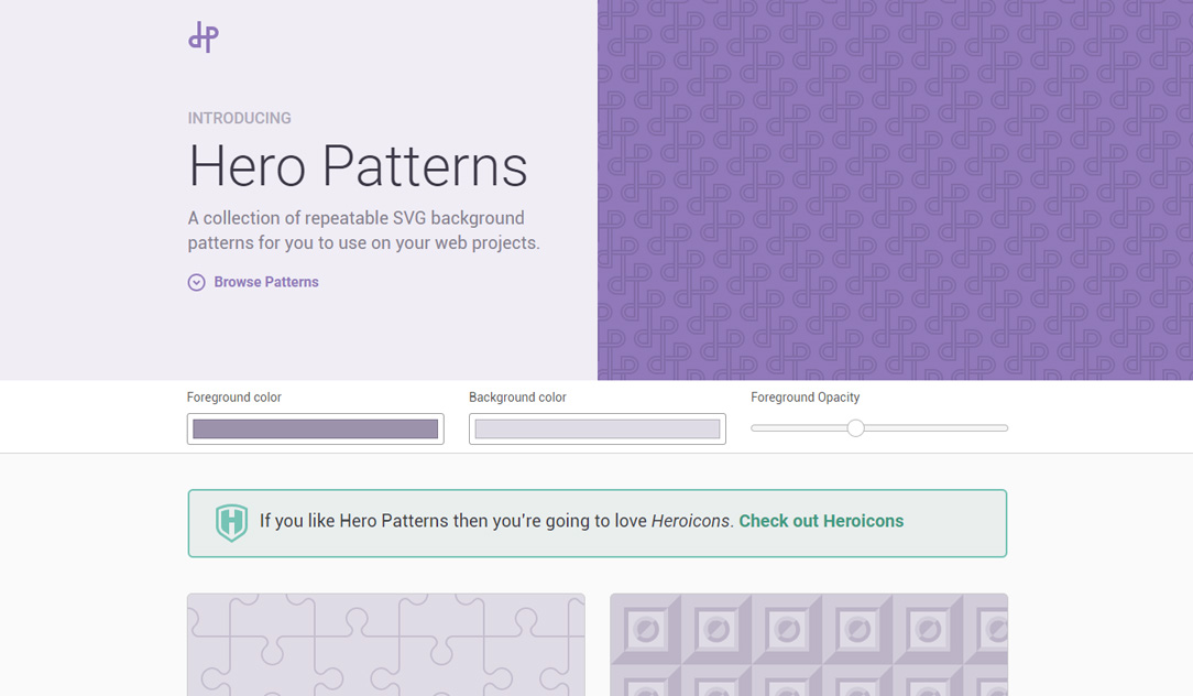 Hero Patterns website screenshot