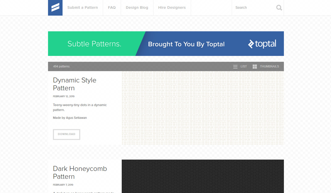 Subtle Patterns website screenshot